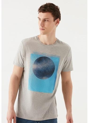 Mavi Moon Baskılı  Tişört Gri